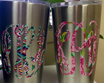 Lilly Pulitzer Inspired Monogram Patterned  Monogram Vinyl Decal Sticker for Yeti