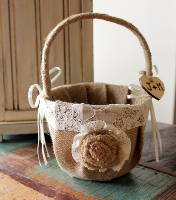 Flower Girl Baskets Burlap And Lace : Flower girl basket burlap and lace rustic by