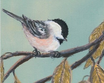 Chickadee Set 10 - Bird 1 - Brushstroke Enhanced 5 X 7 inch print