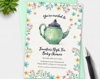 Baby shower invitation, high tea baby shower, watercolor Invitation, custom invitation, printable invitation, blue splash