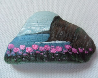 Madeira flowers Portugal - Original miniature painting on English sea glass