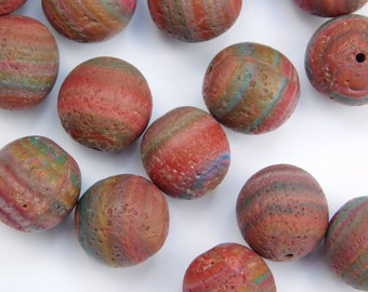 13 mm rustic Polymer Clay Beads, primitive distressed beads, set of 20