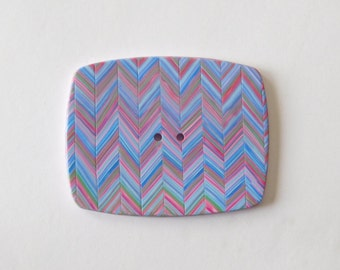 Large Polymer Clay Sewing Button, multi colored chevron stripes