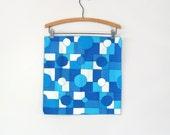 Six (6) Mid Century Mod Vera Napkins - Graphic Blue / White Dots / Squares