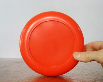 Large Mod Vintage Heller Storage Jar Orange Lid - Massimo Vignelli