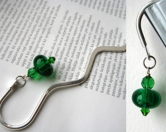 Emerald green artisan lampwork bead | hollow glass