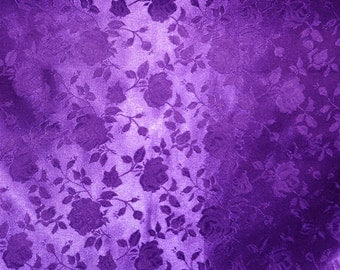 "Purple Jacquard fabric Satin Floral 58"" wide per yard"