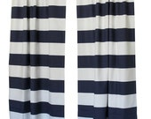 SALE Large Striped Curtains- Pair of Drapery Panels- Premier Prints Cabana Curtains- 63 84 90 96 108 120 inch Drapes- Horizontal Navy Blue