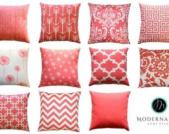 Coral Pillow Cover, 16x16 Zippered Pillow, Decorative Throw Pillow, Coral Cushion Cover, Modernality Home Decor, Toss Pillow, Sofa Pillows