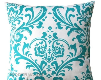 SALE Damask Pillows- Premier Prints Traditions Turquoise Pillow Cover- All Sizes- Zippered Pillow- Wedding Pillow Cushion Cover Pillow Case