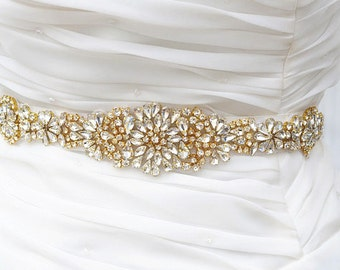 SALE Gold Wedding Belt, Bridal Belt, Sash Belt, Crystal Rhinestones