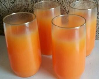 6 Blendo Frosted Orange Tumbler Drink Glasses C 1960 1970