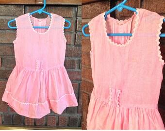 Vintage Childrens 1950s Pink Dress / Vintage Toddler Dress / Pink Dress for Child in True Retro Style