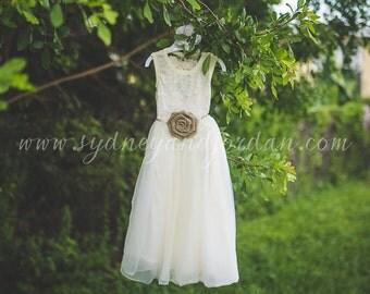 Long Ivory Lace Burlap Rustic Belt Flower Girl Dress, Shabby Chic Ivory Dress, Rustic Wedding Dress, Easter Dress, Vintage Girls Dress