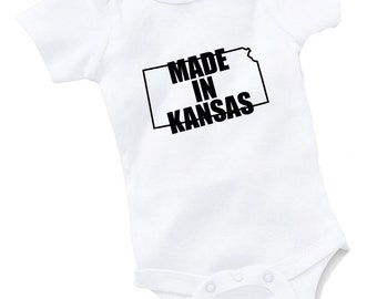 Made In Kansas Onesie Bodysuit Baby Shower Gift Funny Geek Nerd Cute Sports Football Basketball Baseball