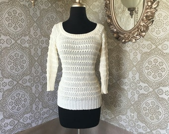 Vintage 1970's 80's Italian Made Off White Loop Knit Pullover Sweater Medium