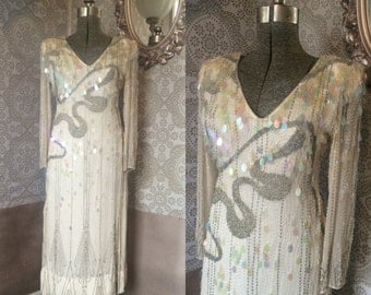 Vintage 1980's Cream and Silver Beaded Gown S/M