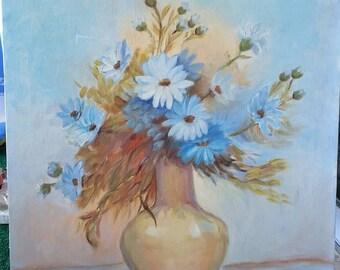 Amazing 18 x 24 Vintage Aqua Floral Painting