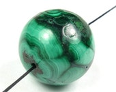 Quality Natural Malachite Large Round Bead - 20 mm - 1 Piece - B4288