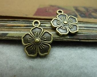 50pcs 14x16mm The Plum Antique Bronze Retro Pendant Charm For Jewelry Bracelet Necklace Charms Pendants C7028