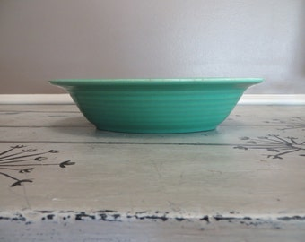 Vintage Oval Bowl Ringware Serving Bowl Bauer Los Angeles Turquoise Bowl Turquiose Pottery Pottery Bowl Stoneware Bowl Ribbed Pottery