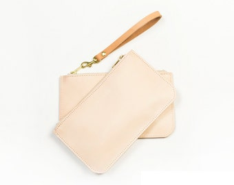 ANDI Leather Clutch. Natural Leather Pouch. Pearl Clutch. Leather Wristlet. Bridal Clutch. Simple Leather Clutch