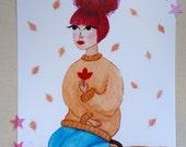 Autumn Girl illustration print