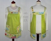 "OOAK 50s Retro Camping Apron ""no tie apron"" Pinafore Apron -all day apron, ready-to-ship"