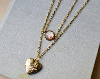 Gold Heart Locket Paris Necklace Set