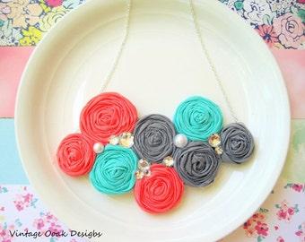 Rosette Statement Necklace,Rosette Bib Necklace, Rosette Necklace,Rosette Jewelry,Choose Your Colors,Fabric Necklace,Fabric Jewelry,Rosettes
