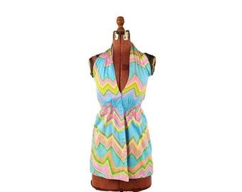 ON SALE Vintage 1960's Mod Sky Blue Abstract Pastel Rainbow Zig Zag Print Summer Cotton Halter Top Blouse S