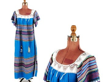Vintage 1970's Blue Crochet Knit Bell Sleeves All Wool Knit Ethnic Hippie Ecuador Festival Long Dress S M