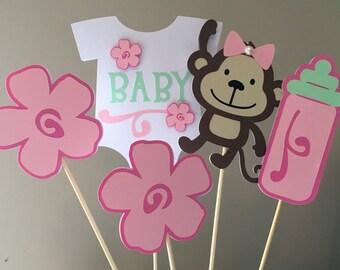 Monkey Baby Shower Centerpiece Picks, Monkey Party, Monkey Baby Shower  Decoration, Pink And