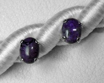 Sugilite Stud Earrings in Silver, 8 x 6 mm, Choice of 3