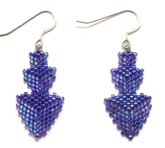 Blue Chandelier Delica Beadwork Earrings