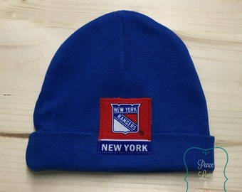 New York Rangers Baby Hat Made from NY Rangers Fabric, NY Baby, Baby Rangers, Baby Shower Gift, New Baby Gift, NHL Baby, Hockey Baby Gift