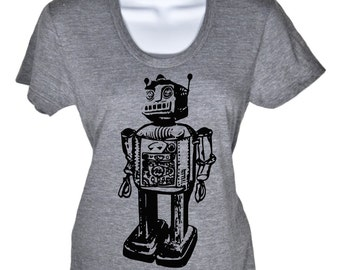 Womens Short Sleeve T-Shirt - Vintage Robot Tshirt - Geeky Gadget Shirt - Sci Fi Vintage Toy Robot Tee -Gift For Her - S M L Xl 2X