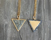 REVERSIBLE Crushed Crystal Triangle Necklace - 2 in 1 Necklace - Gold Tone Style