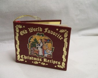 Christmas Book Ornament Choice of 3 Old World Favorite Christmas Recipes (red) Christmas Carols Green OR White Vintage Tree Ornaments