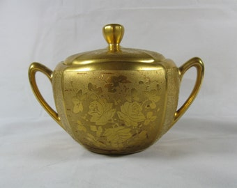 Vintage Sugar Bowl & Lid Fancy Gold Etched Rose Bouquet with Alternate Stippled Finish Fine Porcelain Multi-sided