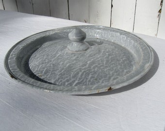 "Vintage Pot Lid Light Grey Mottled Speckled Graniteware Pot Lid 8"" O.D. for 6-3/4"" Diameter Replacement"