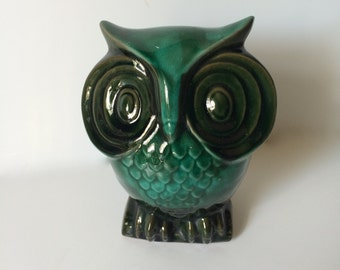 Vintage Owl Bank Ceramic Coin Bank Turquoise Bluish Green Signed Elgin, Canada.  Number 604