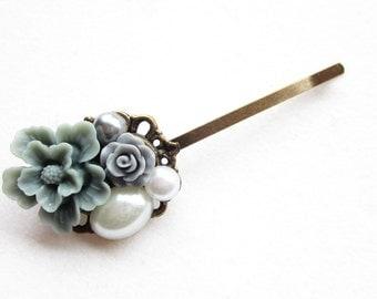 Haarklammer,haarspange,hair pin,hair clip, hochzeit,wedding,Blumen,Vintage-Stil,grau