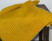 Rustic Yellow Knitted Chunky Mini Blanket/ Mat/ Basket Stuffer Photo Prop, Wool Baby Blanket, Any Color