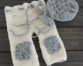 READY TO SHIP Newborn Baby Bonnet and Pants Set Photo Prop, Cream Pants with Patches and Grey Bonnet Set