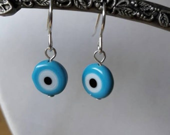 Blue evil eye sterling silver earrings