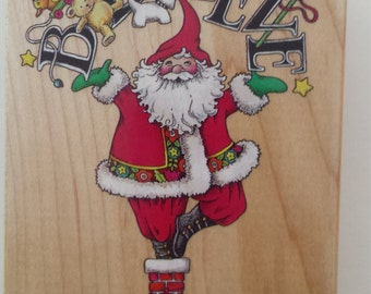 Mary Engelbreit Christmas Santa Believe Wood Stamp Supply