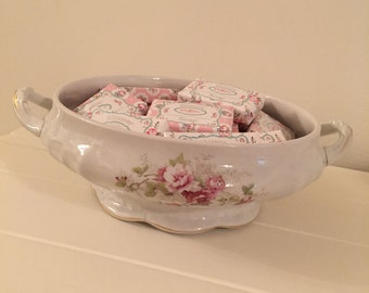 Shabby Chic Pink Rose Soap Bowl