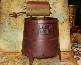 "SALE!  Metal Wringer Washer, Wringer is Wood, Knob is Wood, 8""H, 6.50""W at Wringer"