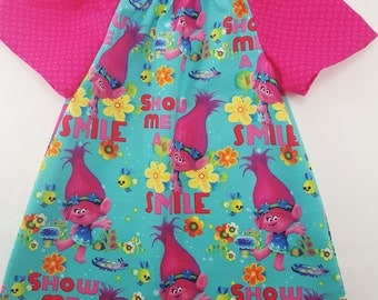 Girls Trolls Dress - Trolls Birthday Party - Trolls Fabric - Girls Peasant Dress - Queen Poppy- Show Me a Smile - 4 prints to choose from